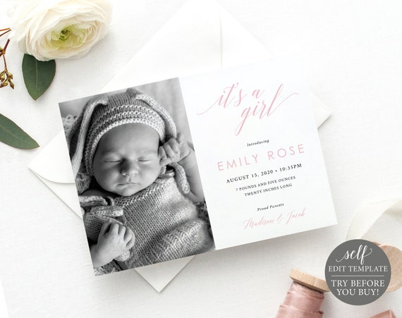 New Baby Announcement Template, Instant Download, TRY BEFORE You BUY, 100% Editable Birth Photo Card Printable