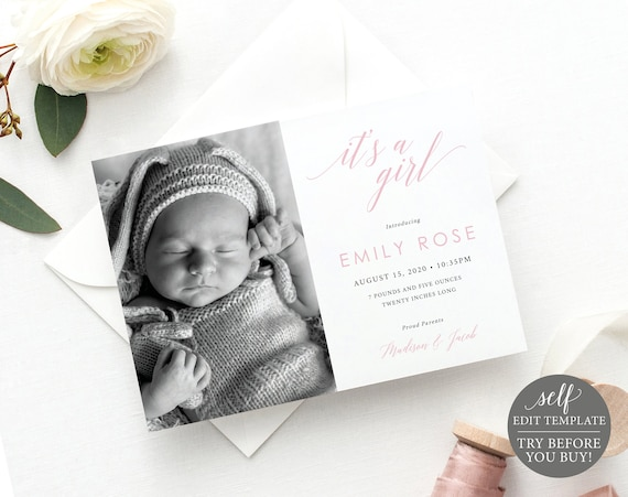 New Baby Announcement Template, Instant Download, TRY BEFORE You BUY,  Editable Birth Photo Card Printable