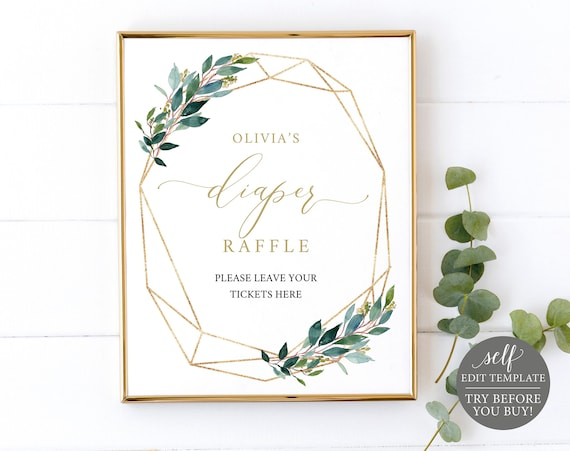 Diaper Raffle Sign & Ticket Templates, Greenery Geometric, Editable Instant Download, TRY BEFORE You BUY