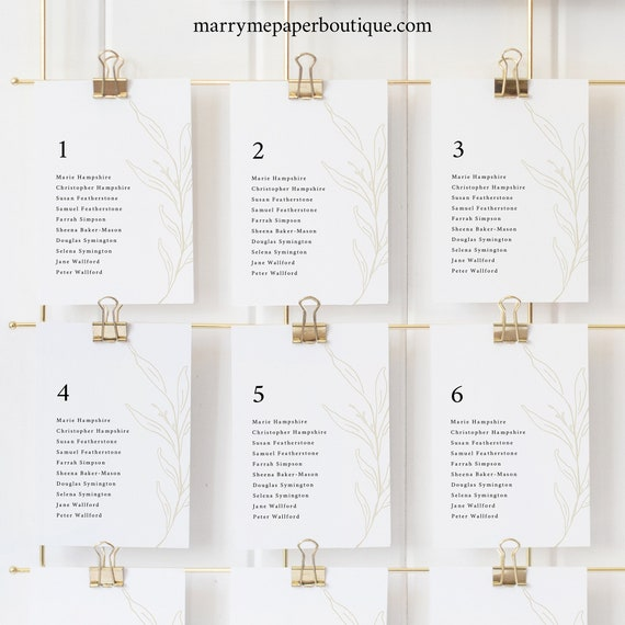 Seating Cards Template, Botanic Calligraphy, Wedding Seating Chart Cards, Printable, Editable, Gold Leaf, Templett INSTANT Download