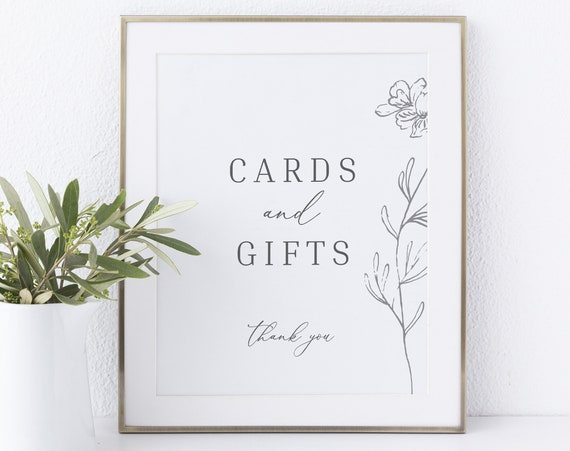Cards & Gifts Sign Template, Non-Editable Instant Download, Botanical Floral