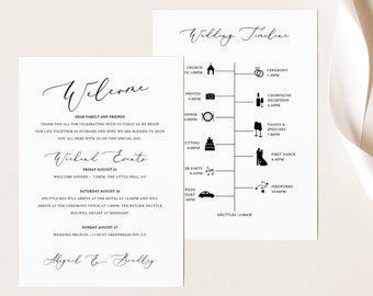 Wedding Itinerary Card Template, Elegant Script, TRY BEFORE You BUY,  Editable Instant Download