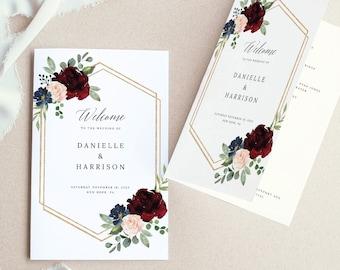 Wedding Program Template, Folded Printable, Demo Available, Editable Instant Download, Burgundy Navy