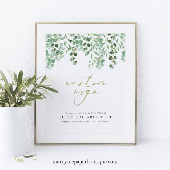Wedding Sign Bundle Template, Garden Greenery, Wedding Signs Printable, Fully Editable, Templett, Instant Download