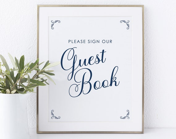 Guest Book Sign Template, Non-Editable Instant Download, Rustic Navy