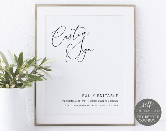 Create MULTIPLE Signs Template, Minimalist Style, Templett, TRY BEFORE You Buy, Editable & Printable Instant Download