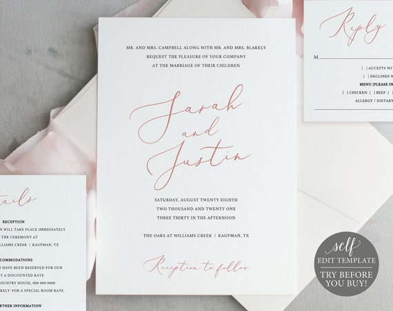 Wedding Invitation Set Templates, Elegant Rose Gold, TRY BEFORE You BUY, 100% Editable Instant Download