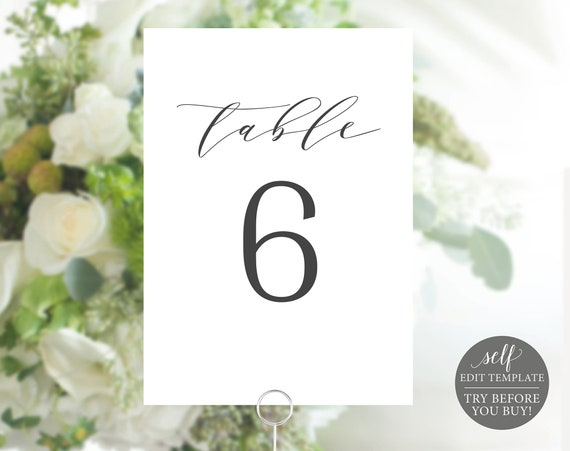 Table Number Template, 100% Editable Instant Download, Formal & Elegant, TRY BEFORE You BUY