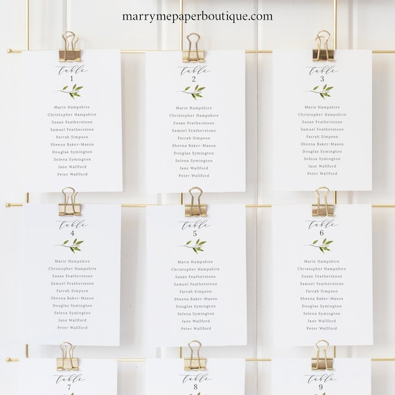 Greenery Seating Chart Cards Template, Green Leaf, Wedding Seating Cards Printable, Templett Editable, Instant Download