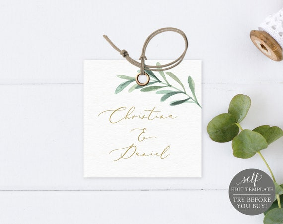 Square Tag & Label Template, Editable Printable Instant Download, Demo Available, Greenery Leaf