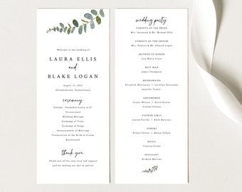 Wedding Program Template, Try Before Purchase, Eucalyptus Greenery Wedding Program Printable, Templett Instant Download