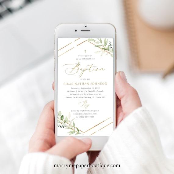 Baptism Text Invitation Template, Greenery Hexagonal, Digital, Electronic Baptism Invite, Editable, Templett INSTANT Download