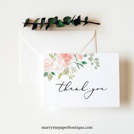 Thank You Card Template Folded, TRY BEFORE You BUY,  Editable Instant Download, Blush Pink Floral