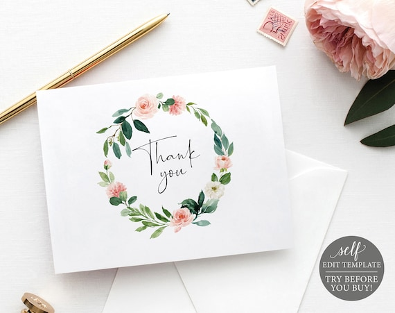 Thank You Card Template, Folded, Editable Instant Download, Floral Greenery, TRY BEFORE You BUY