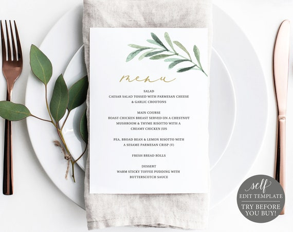 Baptism Menu Template 5x7, Editable Instant Download, TRY BEFORE You BUY, Greenery Leaf