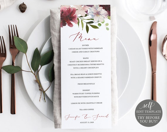 Wedding Menu Template, 100% Editable Menu, Printable Dinner Menu Card, Instant Download, DIY Menu, Burgundy Floral Menu, Try Before You Buy
