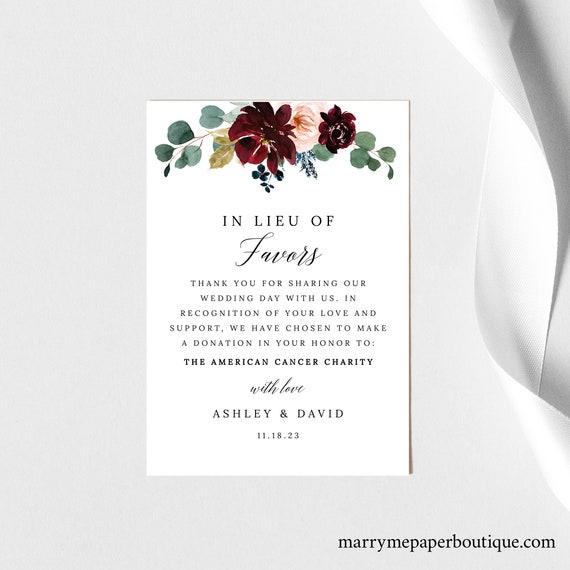 In Lieu of Favors Card Template, Burgundy Floral Wedding, Printable Charity Donation Card, Templett INSTANT Download, Editable