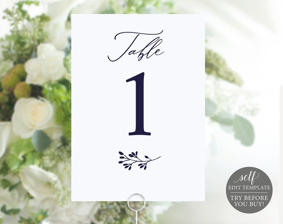 Navy Table Number Template, Instant Download, 100% Editable, Wedding Table Number Printable, TRY BEFORE You BUY