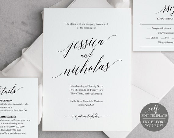 Wedding Invitation Template Set, Editable Instant Download, Calligraphy, FREE Demo Available