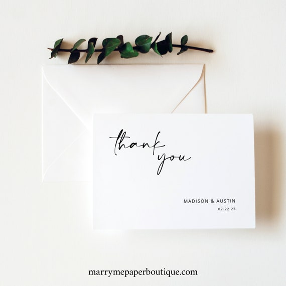 Thank You Card Template, Modern Minimalist, Handwritten Style, Folded, Printable Thank You Card, Editable, Templett INSTANT Download