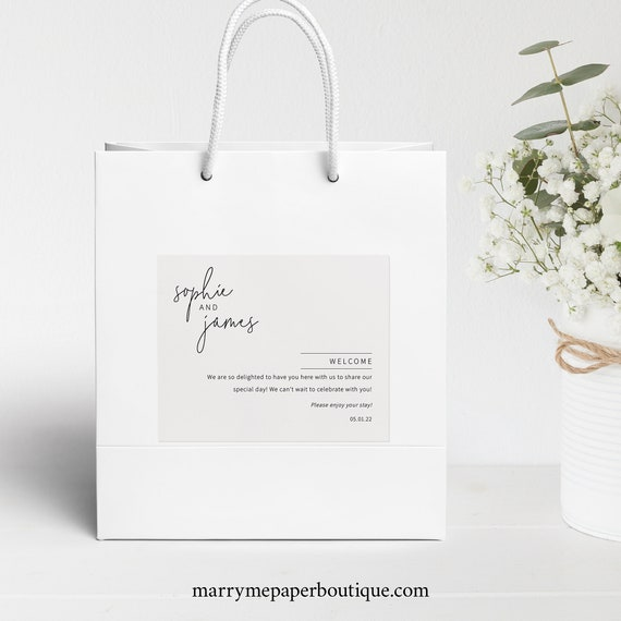 Wedding Welcome Bag Label Template, Minimalist Elegant, Editable & Printable Instant Download, Try Before Purchase