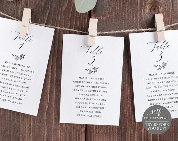 Seating Cards Template, Editable Instant Download, FREE Demo Available, Delicate Script
