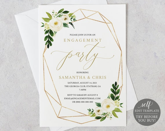 Engagement Party Invite Template, TRY BEFORE You BUY, Fully Editable Instant Download, White Floral Geometric