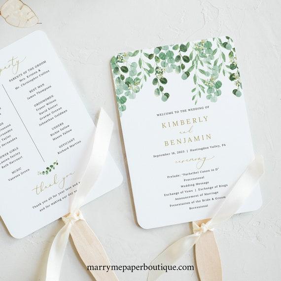 Wedding Program Fan Template, Garden Greenery, Printable Fan Program, Templett, INSTANT Download, Editable