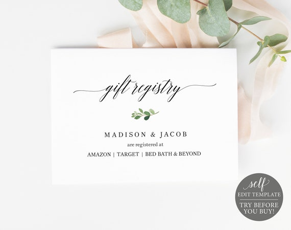 Wedding Registry Card Template, TRY BEFORE You BUY, Editable Instant Download, Greenery Leaf