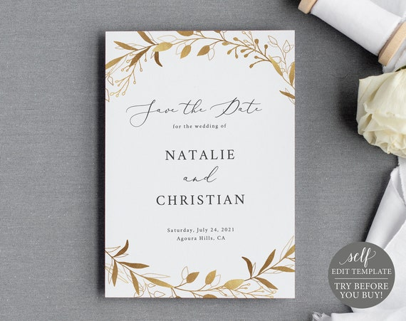 Save the Date Template, Gold Wreath, 100% Editable Instant Download, TRY BEFORE You BUY
