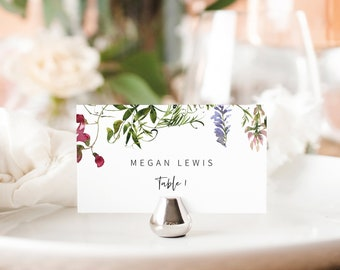 Wedding Place Card Template, Summer Garden Greenery, Flat & Tent Place Card Printable, Editable, Templett INSTANT Download