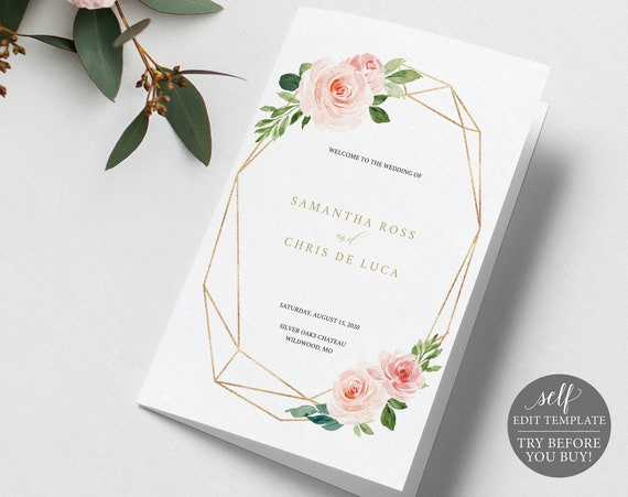 Wedding Program Template, Self Edit Instant Download, Blush Floral, TRY BEFORE You BUY