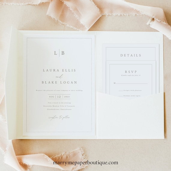 Wedding Invitation Template Set, Pocketfold Format, Monogram & Border, Monogram Wedding Invite Suite With Border, Templett INSTANT Download