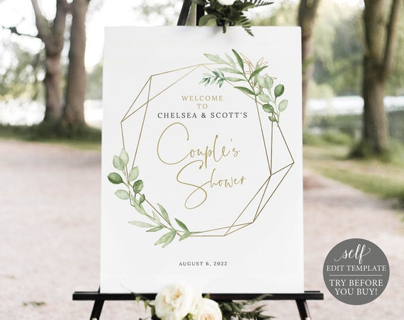 Couple's Shower Welcome Sign Template, Greenery & Gold, TRY BEFORE You Buy, Editable Printable Instant Download, Templett