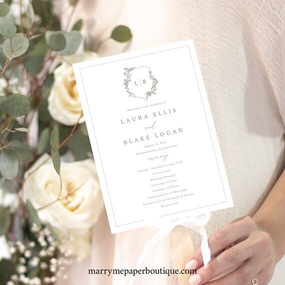 Wedding Program Fan Template, Botanical Wedding Crest, Wedding Fan Program, Printable, Fully Editable, Templett INSTANT Download