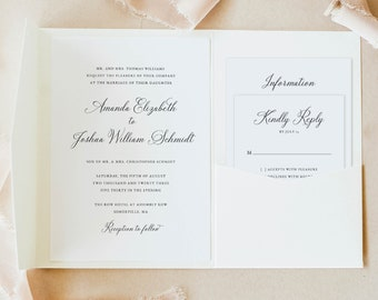 Elegant Wedding Invitation Template Set, Pocket Fold, Traditional, Wedding Invite Suite, Printable, Templett INSTANT Download, Calligraphy