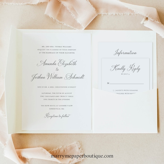 Elegant Wedding Invitation Template Set, Pocket Fold, Traditional, Wedding Invite Suite, Printable, Templett INSTANT Download, Calligraphy