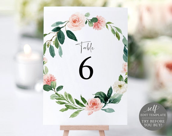 Table Number Template, TRY BEFORE You BUY, Editable Instant Download, Floral Greenery
