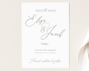 Save the Date Card Template, Elegant Font, Instant Download, Templett, Try Before Purchase, Editable & Printable