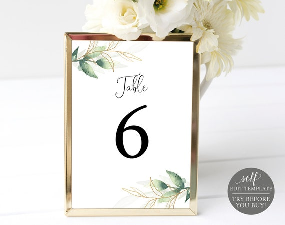 Table Number Template, Greenery & Gold, TRY BEFORE You BUY, 100% Editable Instant Download