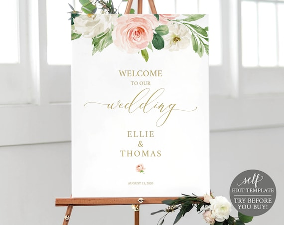 Welcome to our Wedding Poster, Instant Download, Fully Editable Blush Floral Template, TRY BEFORE You BUY