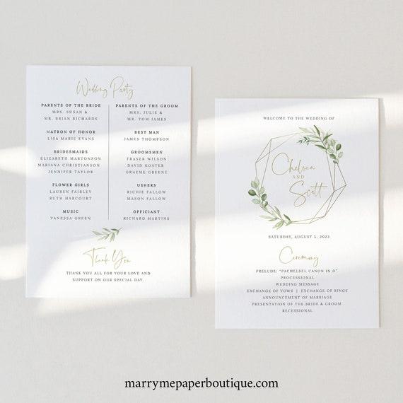 Wedding Ceremony Program Template, Greenery Gold, Wedding Program, Printable, Editable, 5x7, Templett INSTANT Download