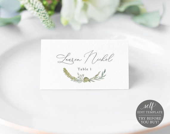 Place Card Template, TRY BEFORE You BUY, 100% Editable Instant Download, Greenery & Blue