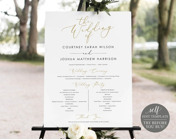 Wedding Program Sign Template, Elegant Gold, Demo Available, Editable & Printable Instant Download