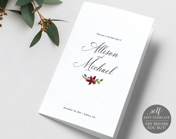 Wedding Program Template, Christmas Folded, Editable Instant Download, TRY BEFORE You BUY