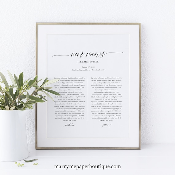 Wedding Vows First Anniversary Gift Template, Elegant, Printable Wedding Vows, Wall Art, Templett, INSTANT Download