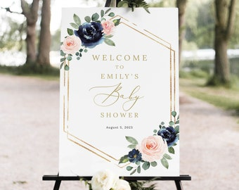 Baby Shower Welcome Sign Template, Navy & Blush Floral, Printable Baby Shower Sign, Editable, Templett INSTANT Download