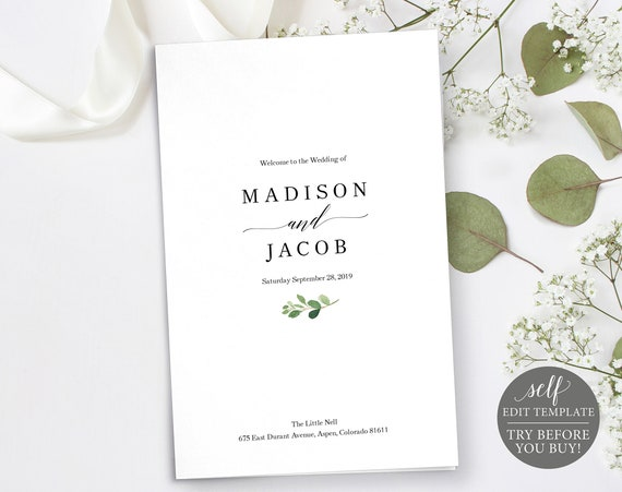Wedding Program Template, Printable Wedding Program, Greenery Wedding, Catholic Wedding Ceremony Program, Program Fold, Download, MM07-1C