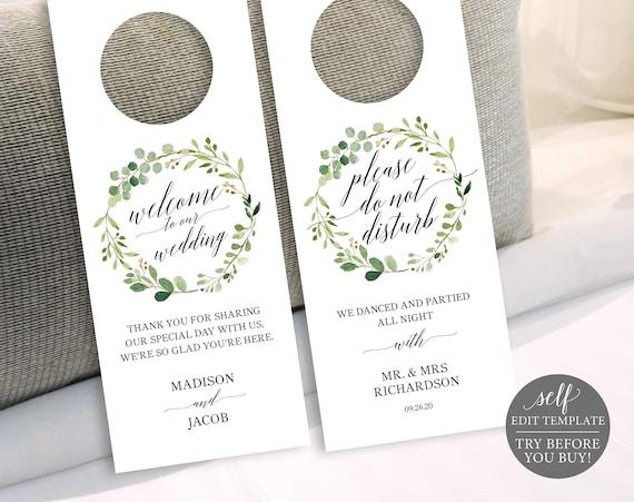 Greenery Wedding Door Hanger, Please Do Not Disturb Door Sign, Printable Door Hanger, Door Hanger Template, Instant Download