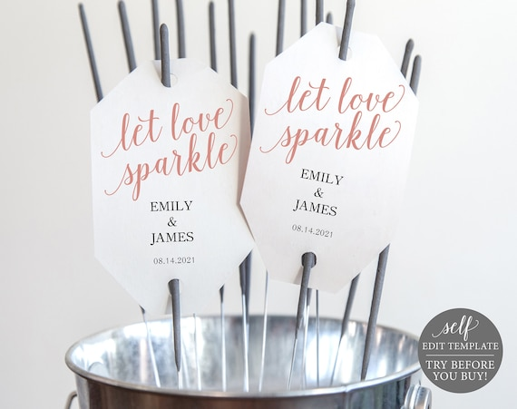 Sparkler Tag Template, 100% Editable Instant Download, TRY BEFORE You BUY, Rose Gold Script